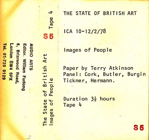 Inlay for Audio Arts supplement The State of British Art showing cassette sleeve for tape 4 of the Images of People debate