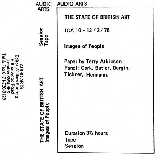 Inlay for Audio Arts supplement The State of British Art showing cassette sleeve for the session tape of the Images of People debate