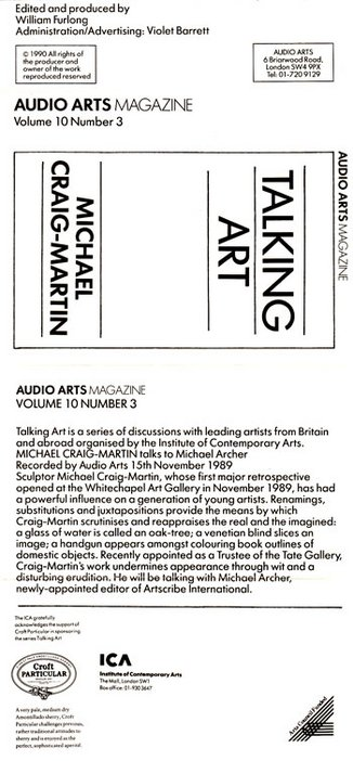 Audio Arts: Volume 10 No 2 Inlay showing black and white cassette inlay