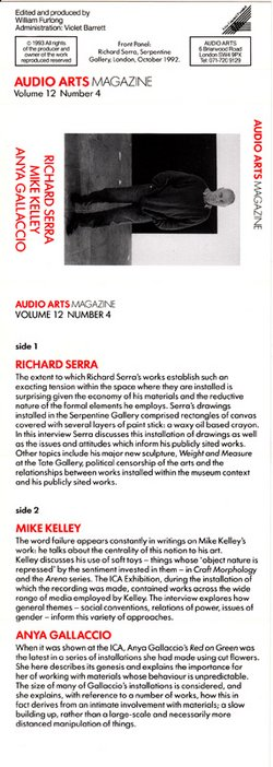 Audio Arts Volume 12 No 4, Inlay 1