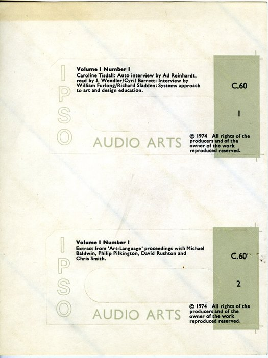 Two cassette inlays for Audio Arts Volume 1 No 1