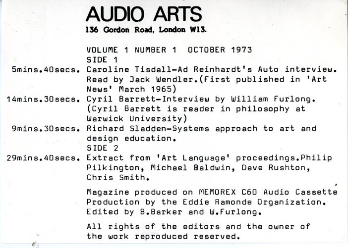 Cassette inlay showing the timings for Audio Arts Volume 1 No 1