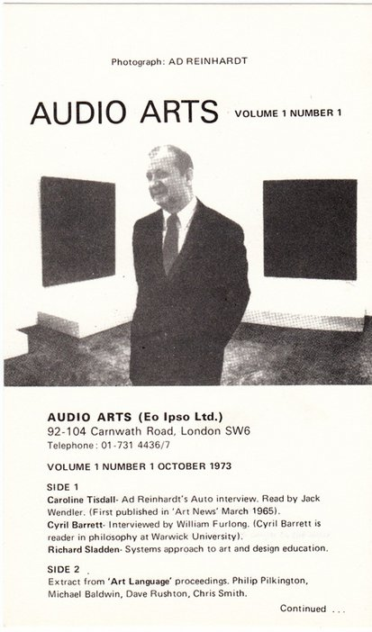 A black and white cassette inlay for Audio Arts Volume 1 No 1 with a photograph of a man standing in a gallery