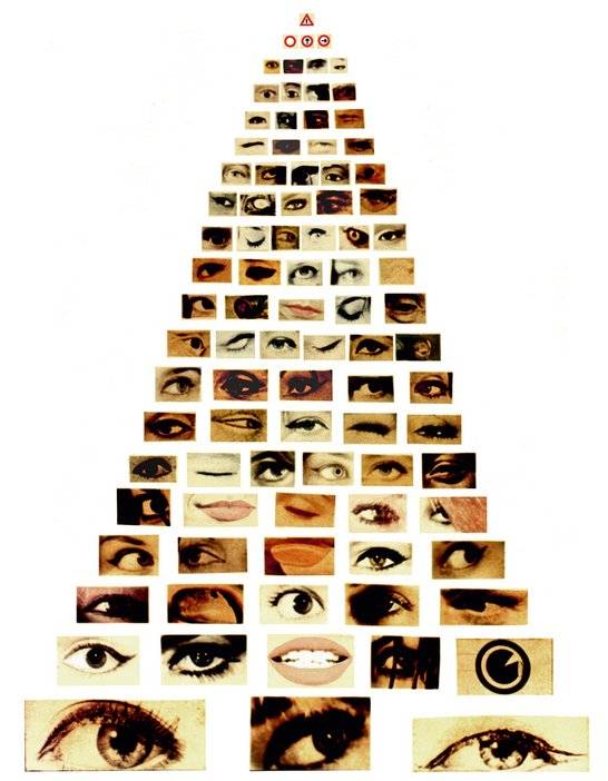 Augusto de Campo Eye for Eye 1964 photographs of eyes and mouths set out in a pyramid design with the images smallest at the top