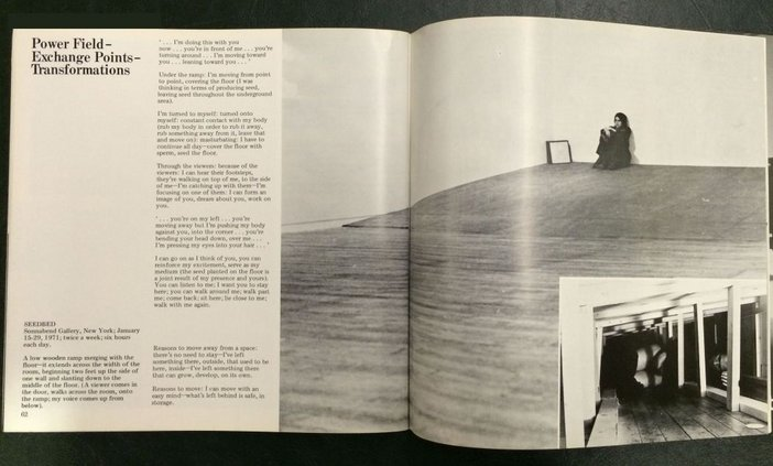 Vito Acconci, 'Power Field – Exchange Points – Transformations', Avalanche, Fall 1972, pp.62–3 (with details of Seedbed)