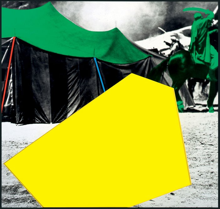 John Baldessari Blockage Yellow With Tent and Sword Fight Green 2005 photograph of tents with yellow and green painted abstract shapes covering part of the photo