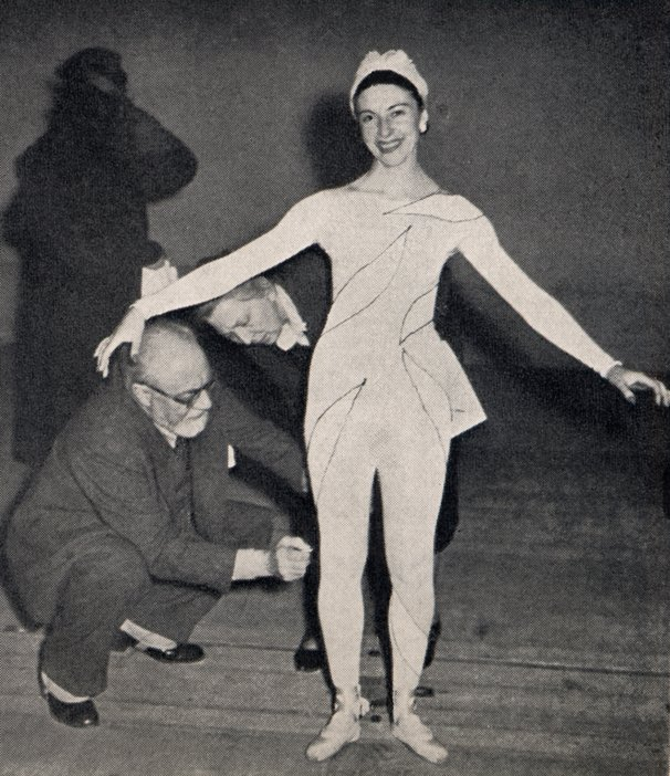 Alicia Markova and Henri Matisse as Matisse designs his costumes for the Ballet Russe de Monte Carlo production of Rouge et Noir
