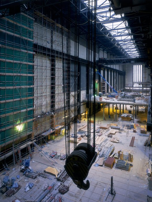 Interior view of work during construction of Tate Modern, 1999