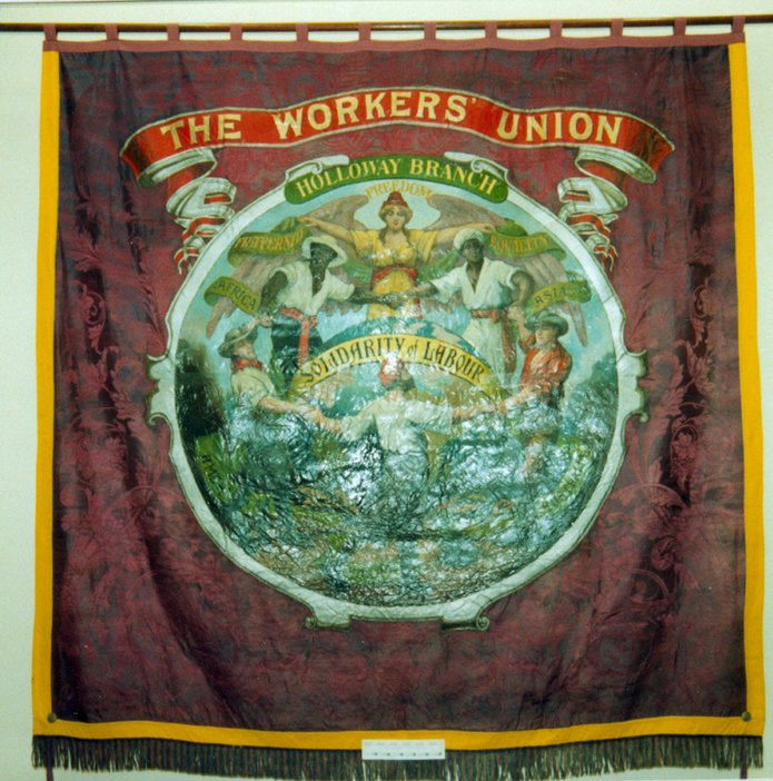 Banner for The Worker's Union - Holloway branch - Solidarity of Labour, after Walter Crane dated c. 1898