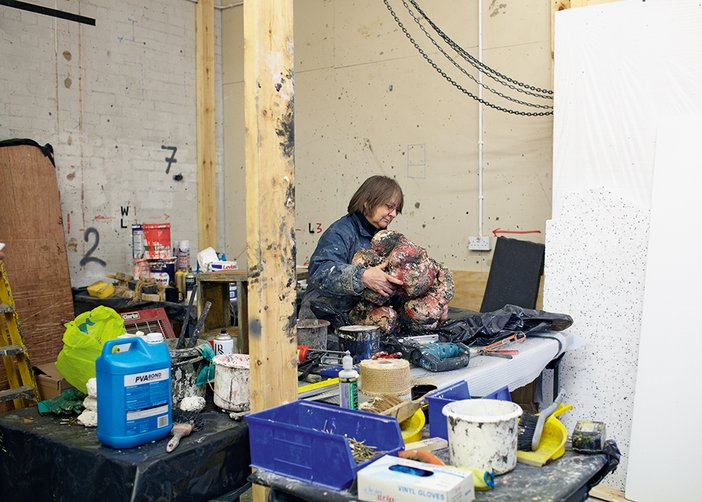 Phyllida Barlow and her work in her south London studio in November 2013