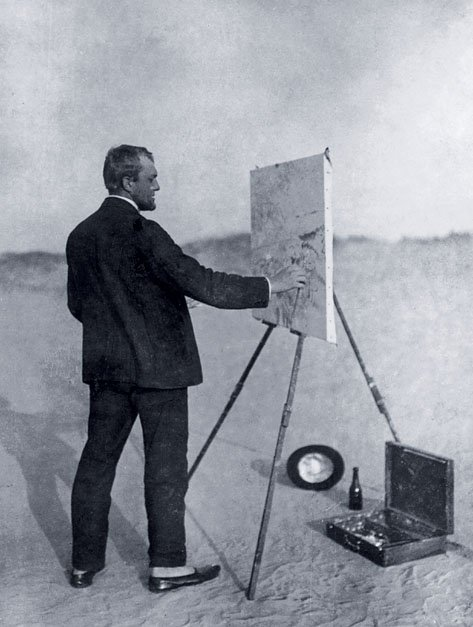 Beckmann painting the watercolour The Red Sea  on the shore of the Baltic Sea 1907