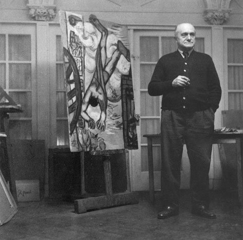 Beckmann with the painting The Chute 1950 in his New York apartment 10 February 1950