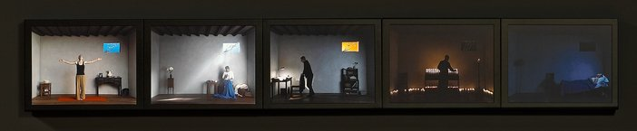 Bill Viola Catherines Room 2001 Video on five LCD panel displays a series of images of a woman alone in a room engaged in various activities