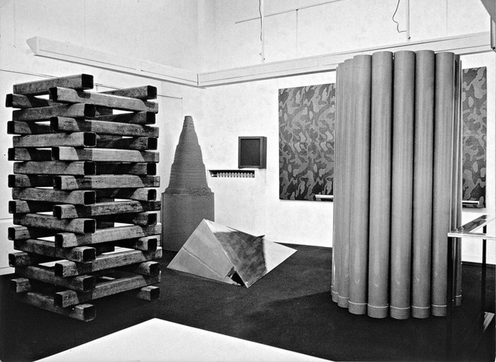Boetti's first exhibition, at Galleria Christian Stein, Turin, January 1967