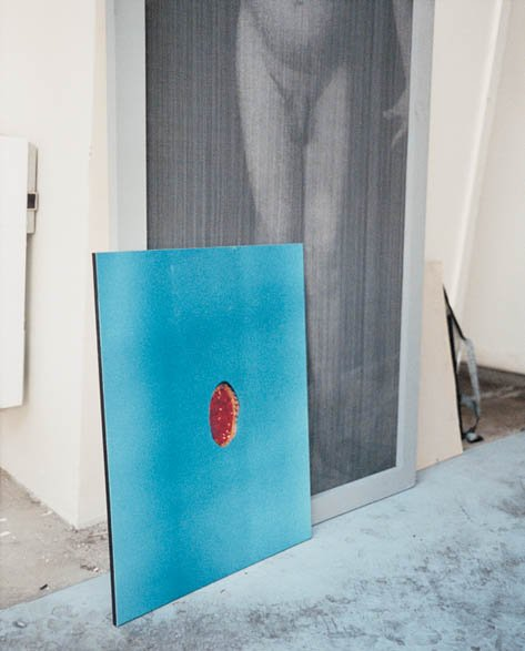 Christian Boltanski Blue square with red circle work in studio