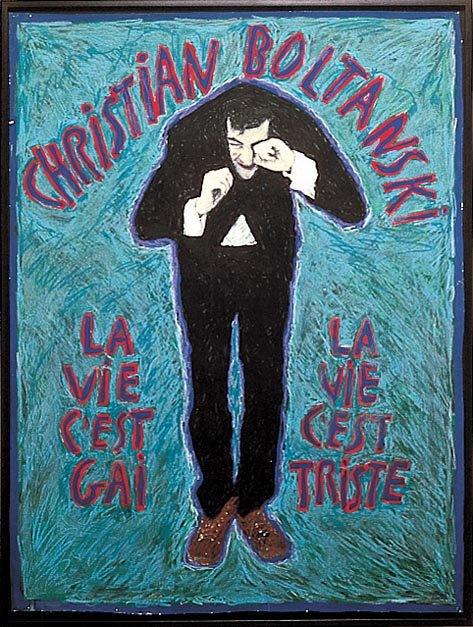 Christian Boltanski Life is Happy, Life is Sad 1974 Gouache on paper, framed 104 x79 cm