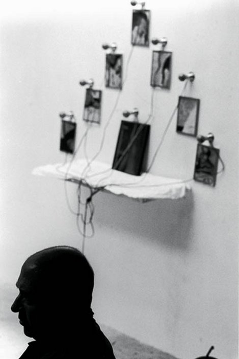 Christian Boltanski, silhouette with work in backdrop