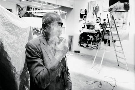 Christian Boltanski smoking in studio