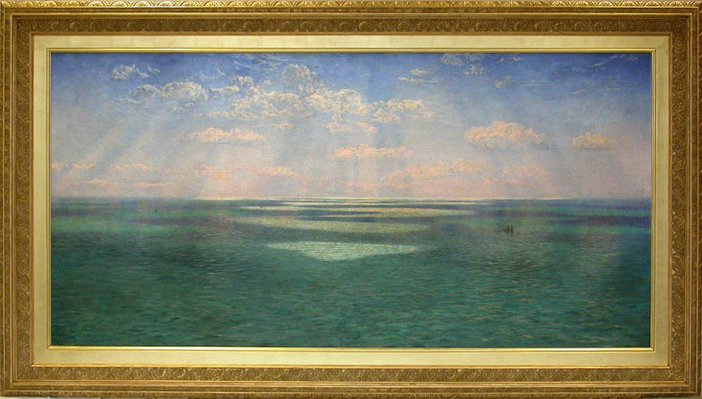 John Brett, The British Channel Seen from the Dorsetshire Cliffs 1871. Restored painting and frame