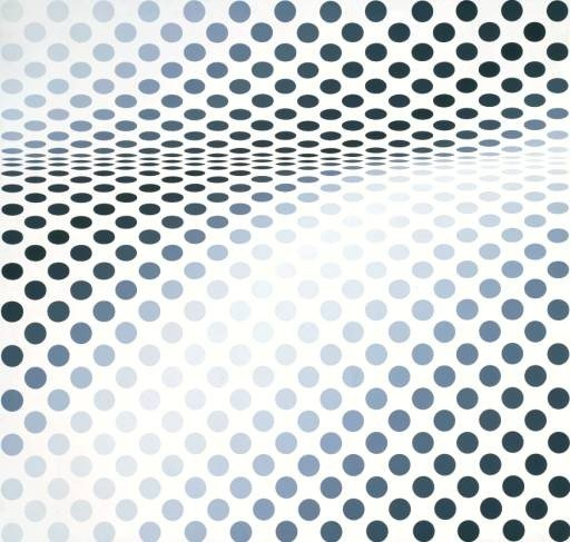 Bridget Riley Hesitate 1964 optical illusion made with dots in gradients of grey where the dots appear to be receding in to each other in the middle of the picture
