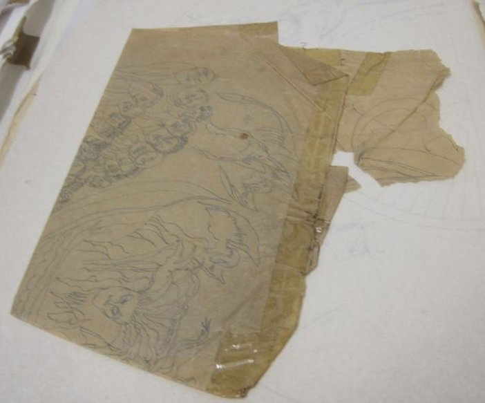Felicia Browne archive image; damaged paper