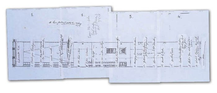 Bruce Nauman's plans for the layout of the Turbine Hall for his exhibition: Raw Materials at Tate Modern