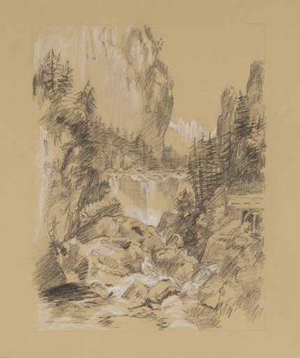 Cath Hughes After Turner from Grenoble Sketchbook [Finberg LXXIV], Cascade of the Chartreuse 1802