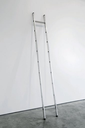 Ceal Floyer Ladder minus 2to 8 2010 photograph of an aluminium ladder leaning against a white gallery wall with all the rungs missing apart from the top rung