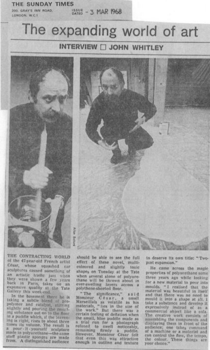John Whitley, 'The Expanding World of Art', Sunday Times, 3 March 1968