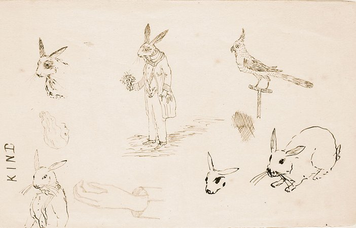 Charles Dodgson original drawing of rabbits
