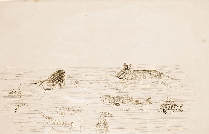 Charles Dodgson sketch for The Pool of Tears for Alice Adventures in Wonderland