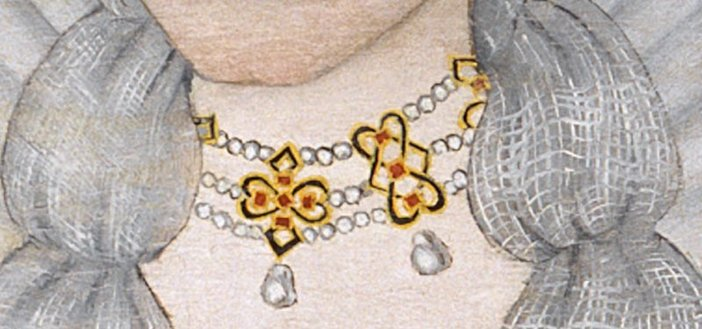 Seventeenth century British School The Cholmondeley Ladies c1600 1610 detail of a womans throat with pearl necklace
