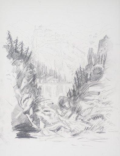 Chris Webster After Turner from Grenoble Sketchbook [Finberg LXXIV], Cascade of the Chartreuse 1802