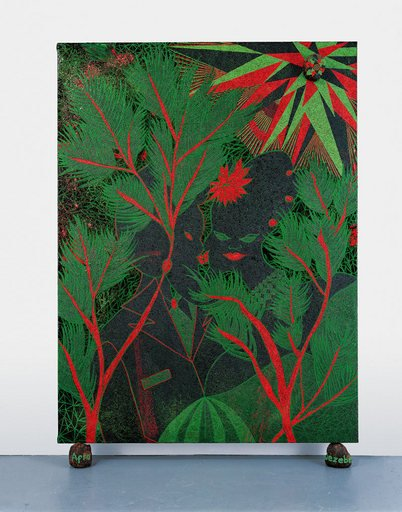 Chris Ofili Afro Jezebel 2002 2003 canvas resting on the floor supported by two dung balls the picture is painted in green red and black and depicts two figures amongst the tress