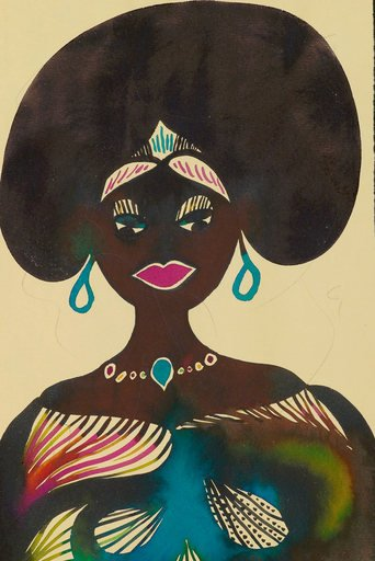 Chris Ofili Untitled from Afro Muses 1995 2005 portrait of a black woman with a large afro and wearing blue earrings and multi coloured traditional dress