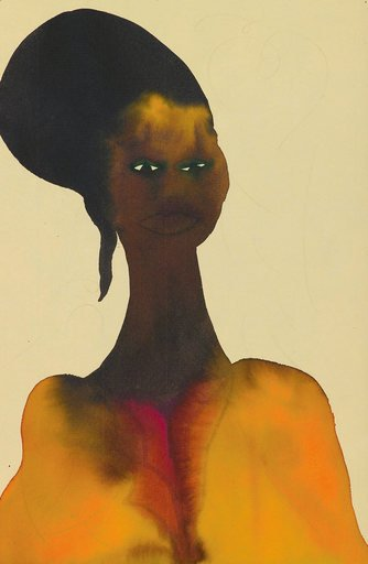 Chris Ofili Untitled from Afro Muses 1995 2005 portrait of a black woman with a long elegant neck wearing bright orange traditional dress