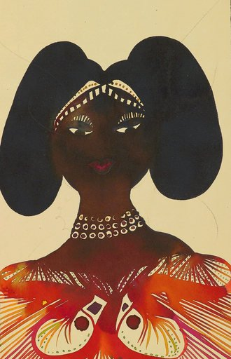 Chris Ofili Untitled from Afro Muses Couples series 1995 2005 portrait of a black woman with elborately styled hair and bright orange traditional dress