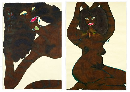 Chris Ofili Untitled from Afro Nudes 1 to 4 2007 cropped ink drawings of nude black women in provocative poses