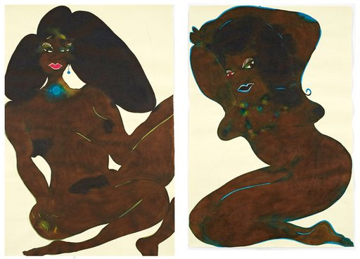 Chris Ofili Untitled from Afro Nudes 1 4 2007 cropped ink drawings of nude black woman in provocative poses