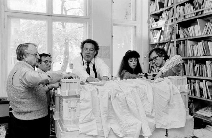 Lost Art: Christo and Jeanne-Claude work on a model of the Reichstag with assistants 1984