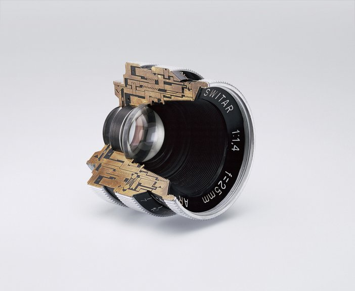 Christopher Williams Cutaway model Switar 25mm f1.4 AR. Glass, wood and brass. Douglas M. Parker Studio, Glendale, California, November 17, 2007–November 30, 2007 2008