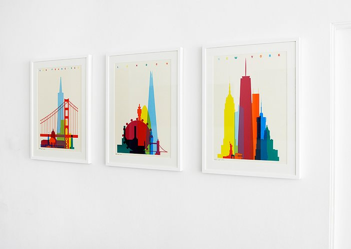 Yoni Alter's Shapes of Cities series in his exhibition at Kemistry Gallery