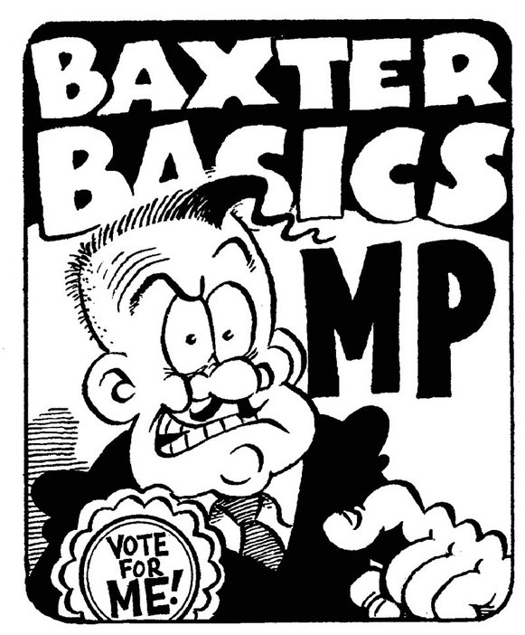 Drawing by Simon Thorp, co-editor of Viz, of Viz character Baxter Basics (1993)