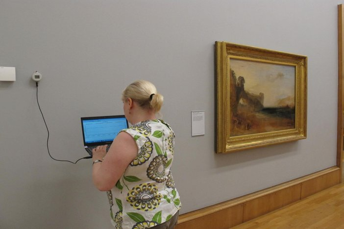 Conservative Science worker using Tinytag in Turner galleries
