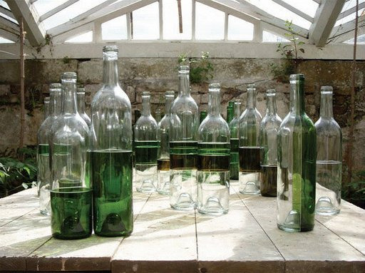 Corey McCorkle Dandelion Wine 2009 glass bottles on a wooden table which look like they contain green liquid