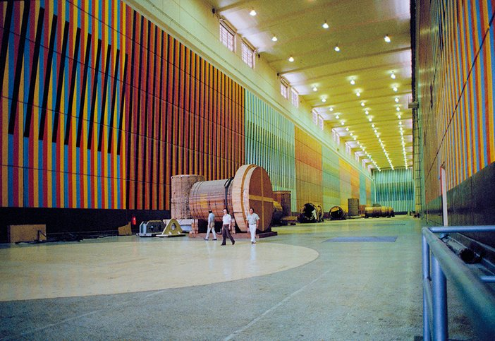 Installation view of Carlos Cruz-Diez's Chromatic Environment for Machine Room Number One at the Raul Leoni Hydroelectric power station, Guri, Venezuela