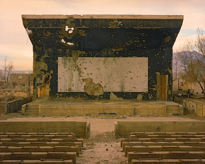 Simon Norfolk, Bullet scarred cinema at the Palace of Culture in the Karte Char district of Kabul, 2003