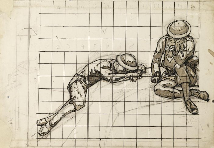 An ink and watercolour of two soldiers: one lying on the ground and the other sitting down