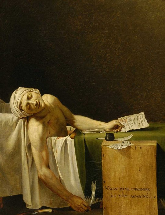 Jacques-Louis David The Death of Marat (La Mort de Marat) 1793–4 Oil paint on canvas depicting Marat lying dead in his bath as he was writing a letter