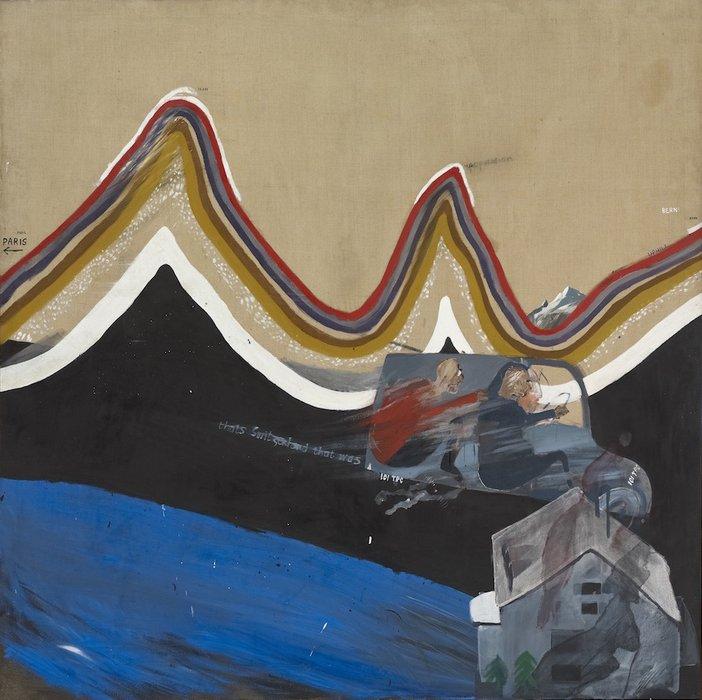 David Hockney, Flight into Italy – Swiss Landscape, 1962